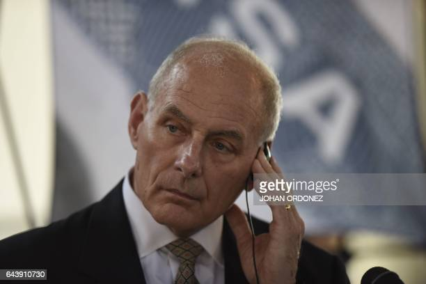 US Secretary of Homeland Security John Kelly listens to questions during a press conference at the end of a twoday visit to Guatemala at the...