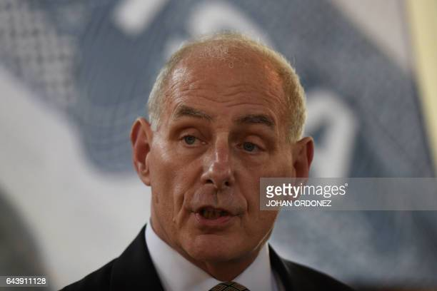 US Secretary of Homeland Security John Kelly speaks during a press conference at the end of a twoday visit to Guatemala at the Guatemalan Air Force...