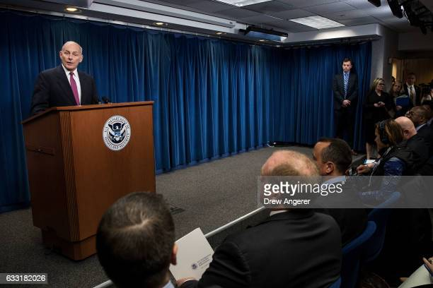 Secretary of Homeland Security John Kelly speaks during a press conference related to President Donald Trump's recent executive order concerning...