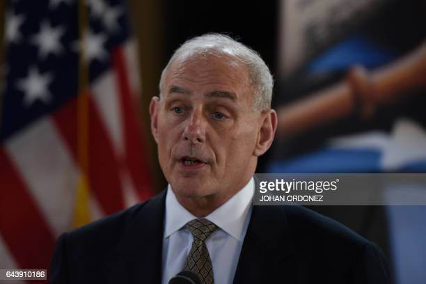 US Secretary of Homeland Security John Kelly speaks in a press conference at the end of a twoday visit to Guatemala at the Guatemalan Air Force base...