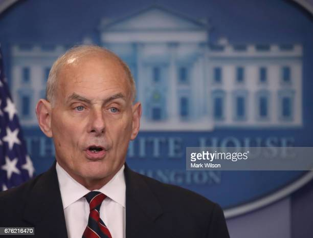 Secretary of Homeland Security John Kelly speaks to the media in the briefing room at the White House on May 2 2017 in Washington DC