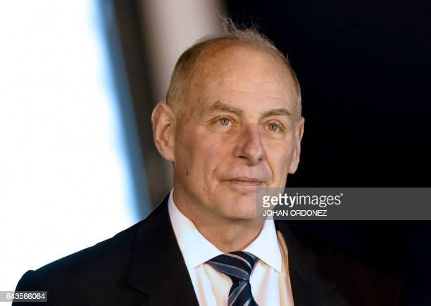US Secretary of Homeland Security John Kelly upon his arrival at the Guatemalan Air Force base in Guatemala City on February 21 2017 / AFP / JOHAN...