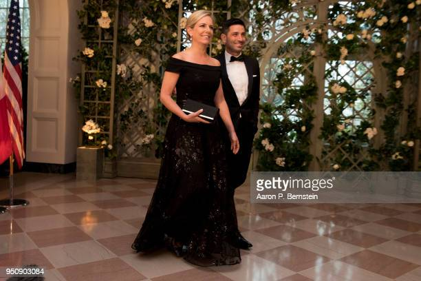 Secretary of Homeland Security Kirstjen Nielsen and Chad Wolf arrive at the White House for a state dinner April 24 2018 in Washington DC President...