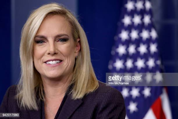 Secretary of Homeland Security Kirstjen Nielsen answers questions during the daily White House press briefing April 4 2018 in Washington DC Nielsen...