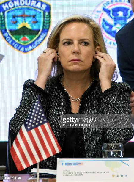US Secretary of Homeland Security Kirstjen Nielsen attends the V Meeting of Ministers and Secretaries of Security of the Northern Trialgle and the US...