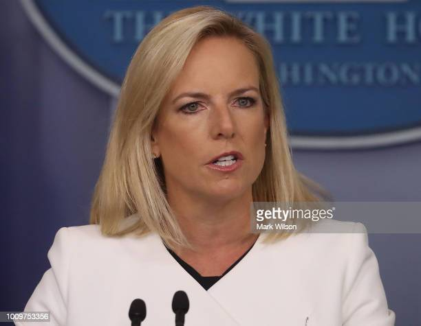 Secretary of Homeland Security Kirstjen Nielsen briefs the media on election interference at the White House on August 2 2018 in Washington DC The...