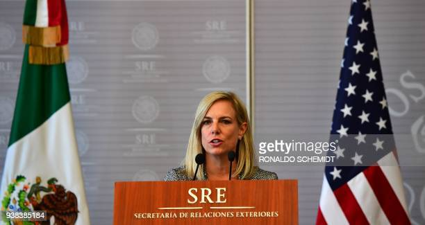 US Secretary of Homeland Security Kirstjen Nielsen delivers a joint press conference with Mexican Minister of Foreign Affairs Luis Videgaray in...