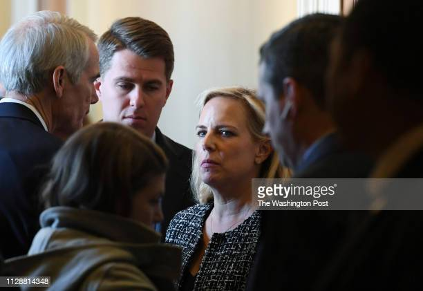 Secretary of Homeland Security Kirstjen Nielsen is seen at the United States Capitol on Tuesday March 05 2019 in Washington DC