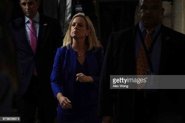 S Rep Carlos Curbelo speaks to members of the media after a meeting with Secretary of Homeland Security Kirstjen Nielsen June 20 2018 at the US...