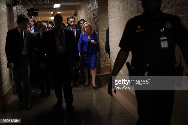 S Secretary of Homeland Security Kirstjen Nielsen leaves after a meeting with House Republicans June 20 2018 at the US Capitol in Washington DC After...