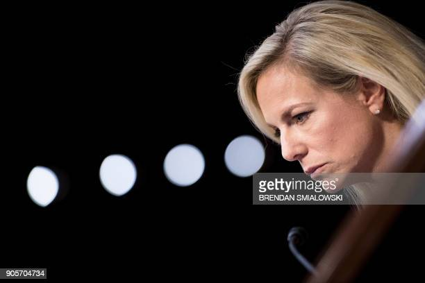 US Secretary of Homeland Security Kirstjen Nielsen looks on during a hearing before the Senate Judiciary Committee on Capitol Hill on January 16 2018...