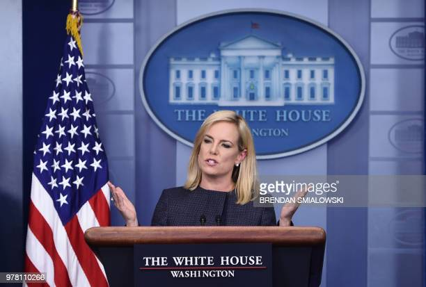 US Secretary of Homeland Security Kirstjen Nielsen speaks at a press briefing at the White House in Washington DC on June 18 2018