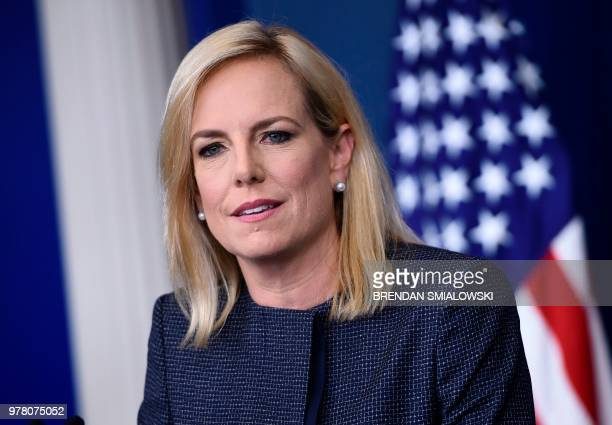 US Secretary of Homeland Security Kirstjen Nielsen speaks at the press briefing at the White House in Washington DC on June 18 2018