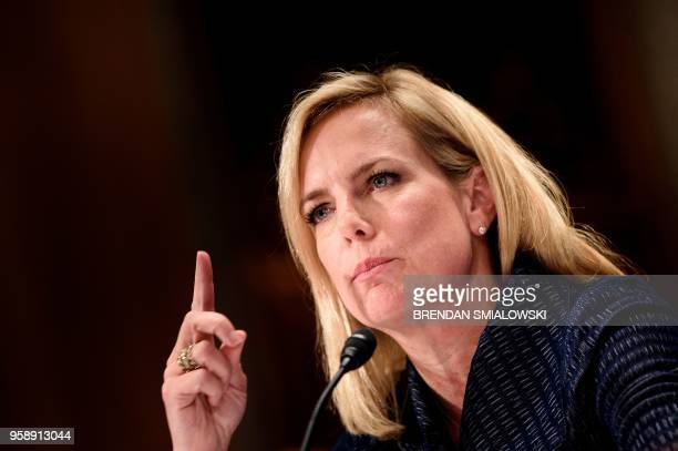 US Secretary of Homeland Security Kirstjen Nielsen speaks during a hearing of the Senate Homeland Security and Governmental Affairs Committee on...