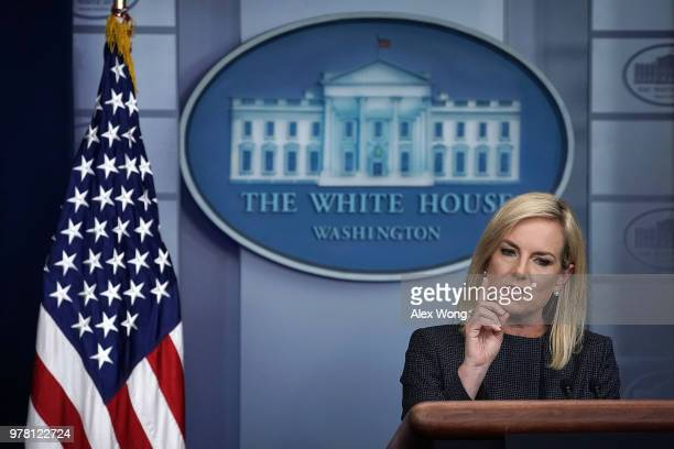 S Secretary of Homeland Security Kirstjen Nielsen speaks on migrant children being separated from parents at the southern border during a White House...