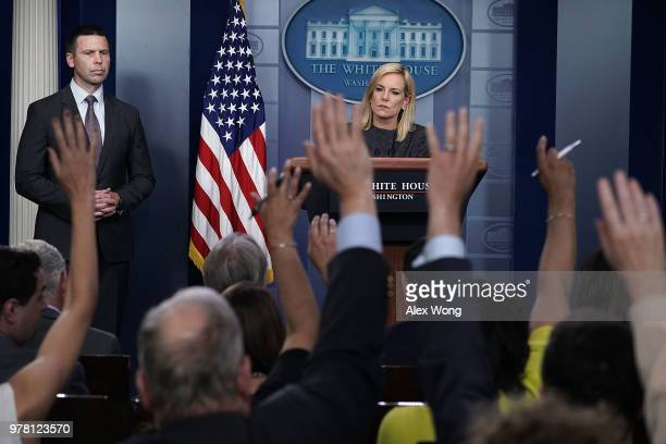 S Secretary of Homeland Security Kirstjen Nielsen speaks on migrant children being separated from parents at the southern border as Commissioner of...