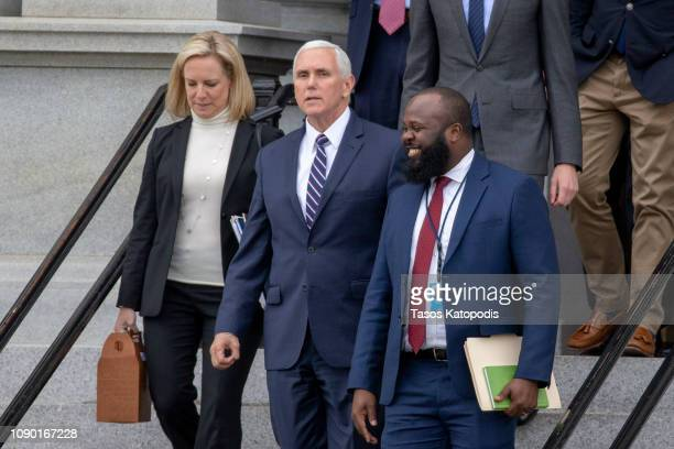 Secretary of Homeland Security Kirstjen Nielsen, Vice President Mike Pence and Ja'Ron Smith special assistant to the President of the United States...