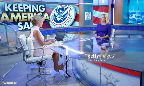 S Secretary of Homeland Security Kirstjen Nielsen visits The Daily Briefing with Dana Perino at Fox News Channel Studios on July 31 2018 in New York...