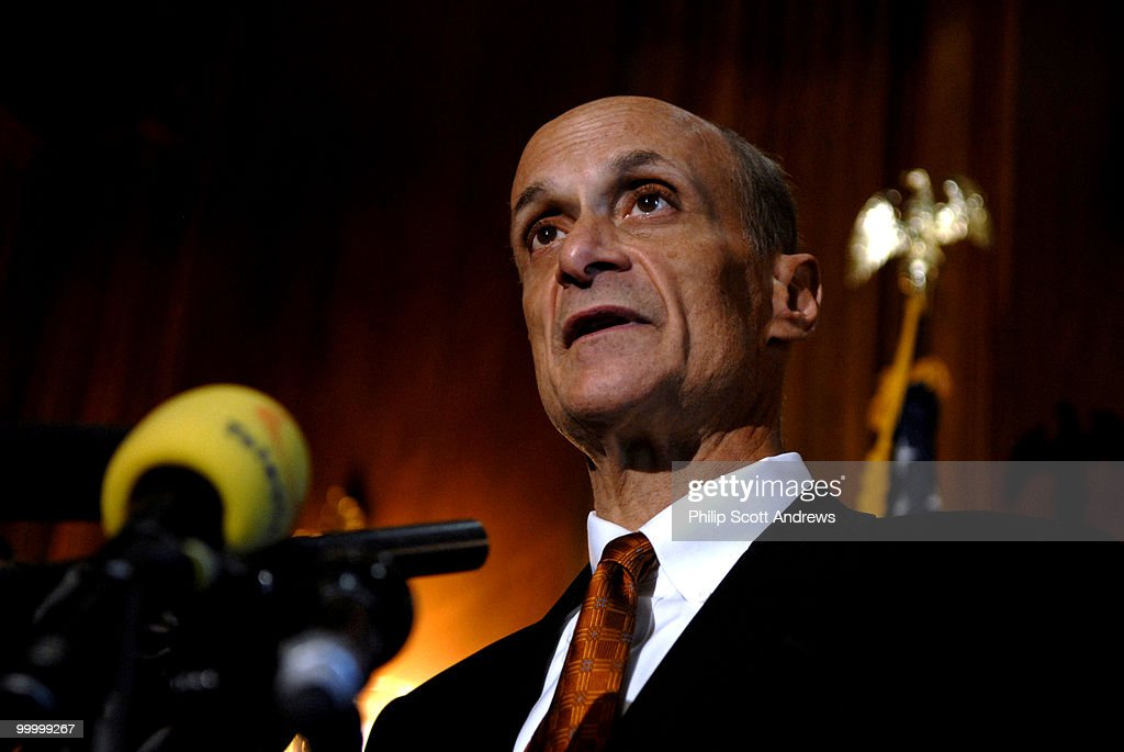 Secretary of Homeland Security Michael Chertoff speaks at a press conference on the hill about the recently defeated immigration legislation.