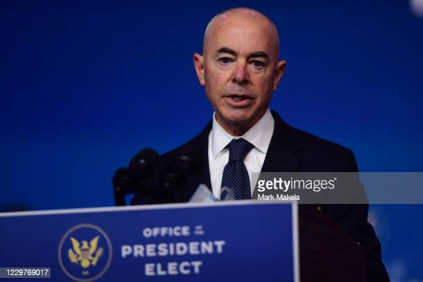 Secretary of Homeland Security nominee Alejandro Mayorkas speaks after being introduced by Presidentelect Joe Biden as he introduces key foreign...