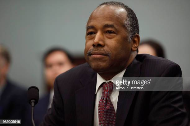 Secretary of Housing and Urban Development Ben Carson arrives to testify before the Subcommittee on Transportation, Housing and Urban Development,...