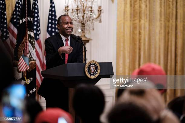 Secretary of Housing and Urban Development Ben Carson speaks to young black conservative leaders from across the country before President Donald...