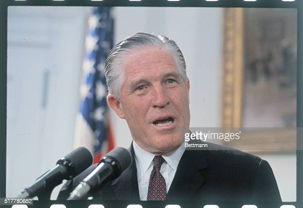 Secretary of Housing and Urban Development George Romney announces at the White House 4/30 that President Nixon has launched a program to encourage...