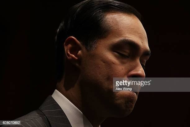 S Secretary of Housing and Urban Development Julian Castro speaks during an event December 6 2016 on Capitol Hill in Washington DC Sec Castro was on...