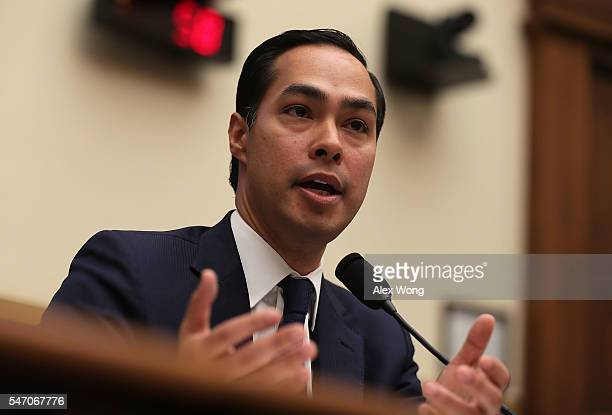 S Secretary of Housing and Urban Development Julian Castro testifies during a hearing before the House Financial Services Committee July 13 2016 on...