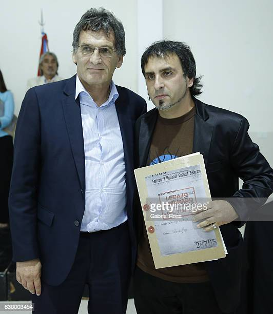 Secretary of Human Rights of Argentina Claudio Avruj participates in the delivery of repaired files to the descendants of 20 disappeared railway...