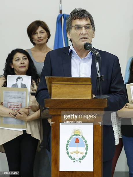Secretary of Human Rights of Argentina Claudio Avruj speaks during the delivery of repaired files to the descendants of 20 disappeared railway...