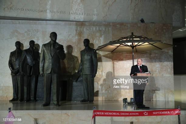 Secretary of Interior David Bernhardt speaks during a dedication ceremony for The Dwight D. Eisenhower Memorial September 17, 2020 in Washington, DC....