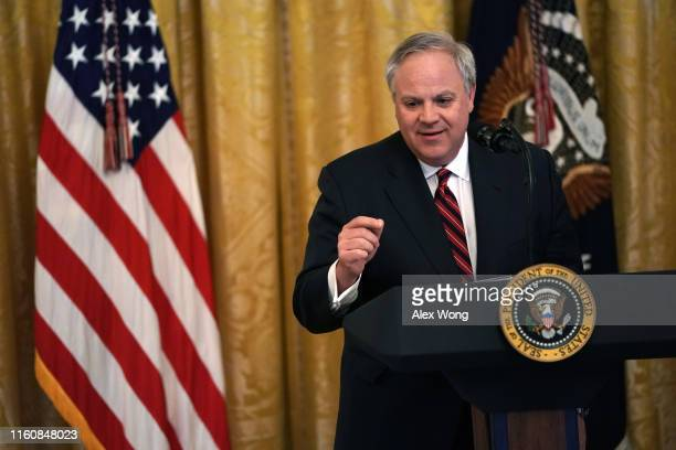 S Secretary of Interior David Bernhardt speaks during an East Room event on the environment July 7 2019 at the White House in Washington DC President...
