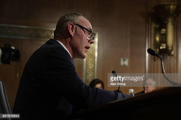 S Secretary of Interior nominee Rep Ryan Zinke testifies during his confirmation hearing before Senate Energy and Natural Resources Committee January...