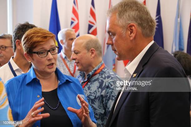 US Secretary of Interior Ryan Zinke listens to Australia's Foreign Minister Marise Payne during the Pacific Islands Forum at the Civic Center in Aiwo...