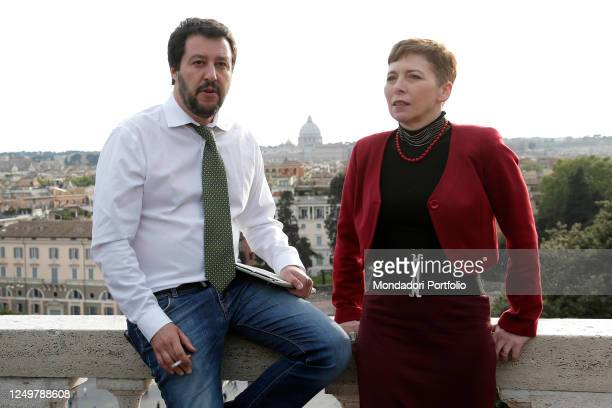 Secretary of Italian right party Lega Nord Matteo Salvini and former President of the Italian Lower Chamber Irene Pivetti pose for photographers...