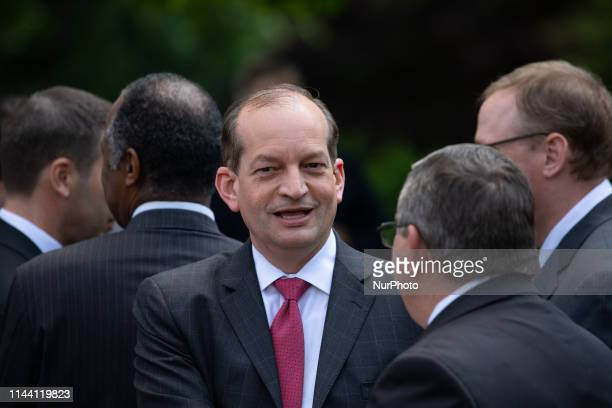US Secretary of Labor Alex Acosta attends President Donald Trump's unveiling of a new legal immigration proposal which would prioritize highskilled...