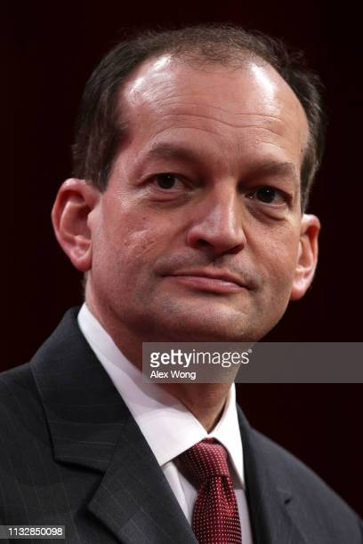S Secretary of Labor Alex Acosta participates in a panel discussion during CPAC 2019 February 28 2019 in National Harbor Maryland The American...