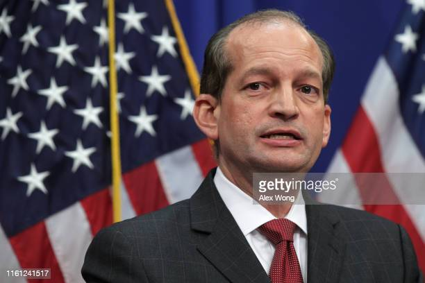 S Secretary of Labor Alex Acosta speaks during a press conference July 10 2019 at the Labor Department in Washington DC Secretary Acosta discussed...