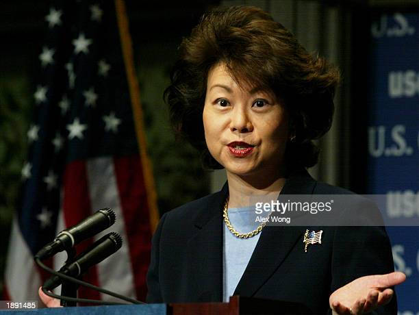 S Secretary of Labor Elaine Chao speaks as she addresses a breakfast at the US Chamber of Commerce April 2 2003 in Washington DC Sec Chao introduced...
