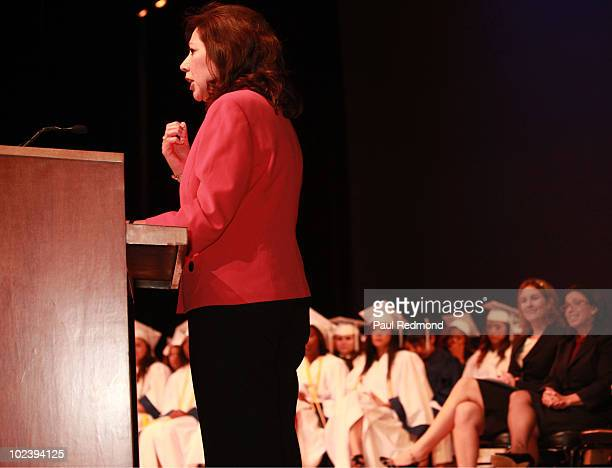 Secretary Of Labor Hilda Solis gives keynote speech for the Environmental Charter School Graduation 2010 at El Camino College on June 24 2010 in...