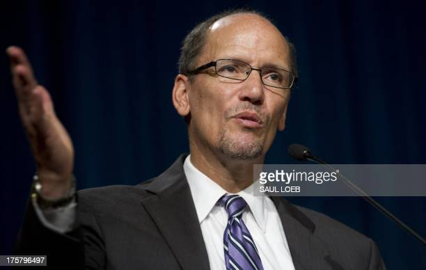 US Secretary of Labor Thomas Perez speaks prior to the unveiling of new postage stamps titled 'Made in America Building a Nation' at a...