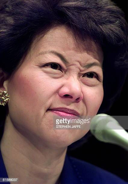 Secretary of Labor-designate Elaine Chao testifies before the Health, Education, Labor and Pensions Senate Committee 24 January 2001 during her...