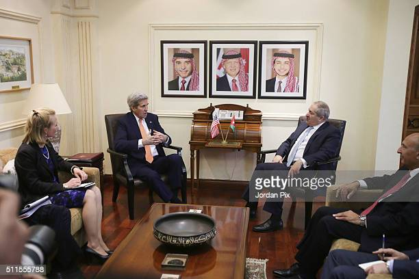 S Secretary of Sate John Kerry halds talks with Jordanian Foreign Minister Nasser Judeh on February 21 2016 in Amman Jordan While in Ammnan Kerry...