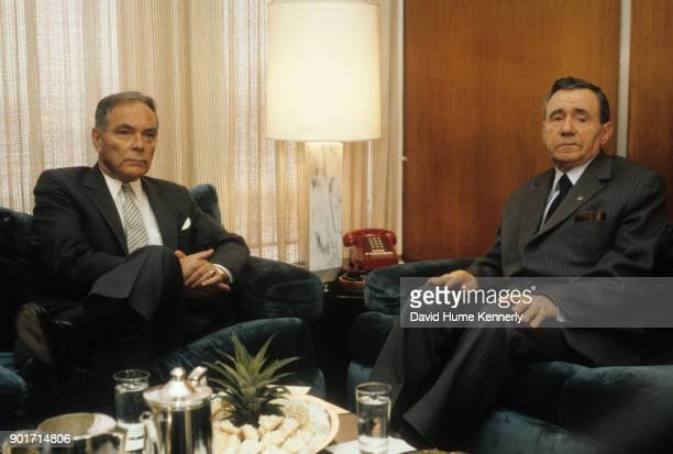 Secretary of State Alexander Haig and former minister Andrei Gromyko at a UN Mission New York New York January 1983