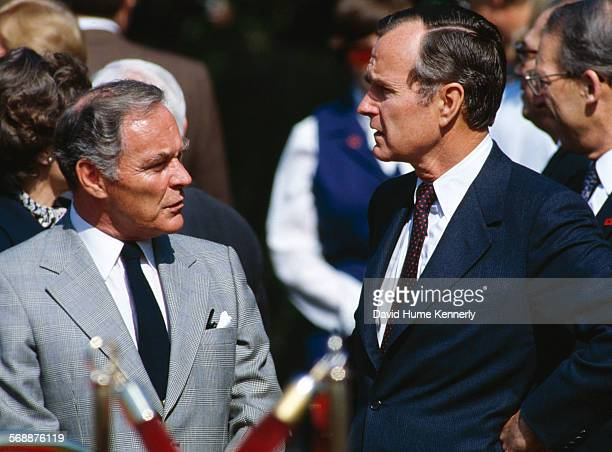Secretary of State Alexander Haig and Vice President Bush on the South Lawn of the White House 1983
