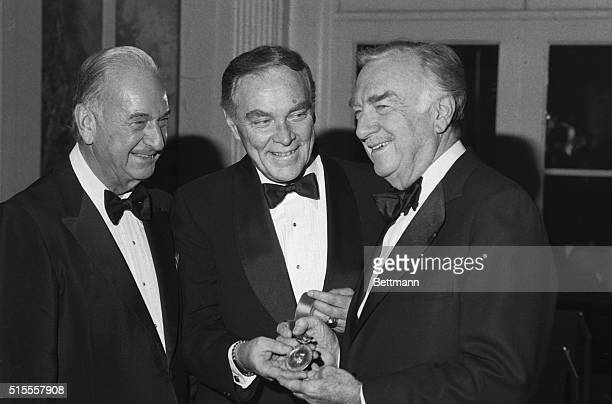 Secretary of State Alexander Haig presents veteran newsman Walter Cronkite with Charles Even Hughes Gold Medal of National Conference of Christians...