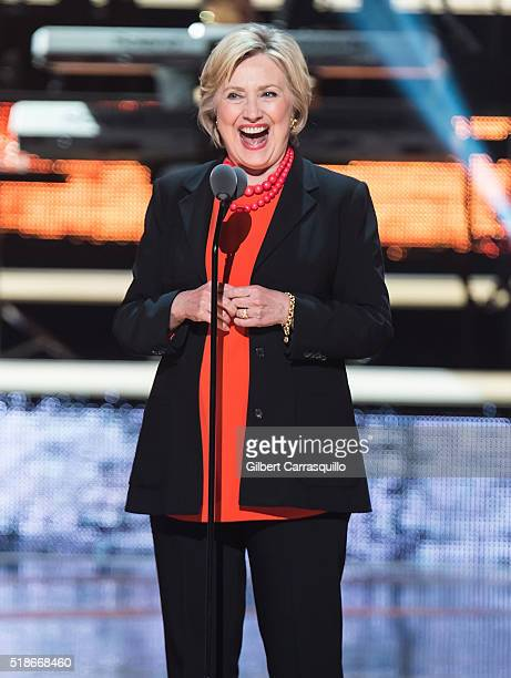 Secretary of State and candidate for the Democratic nomination for President of the United States in the 2016 election Hillary Clinton speaks onstage...
