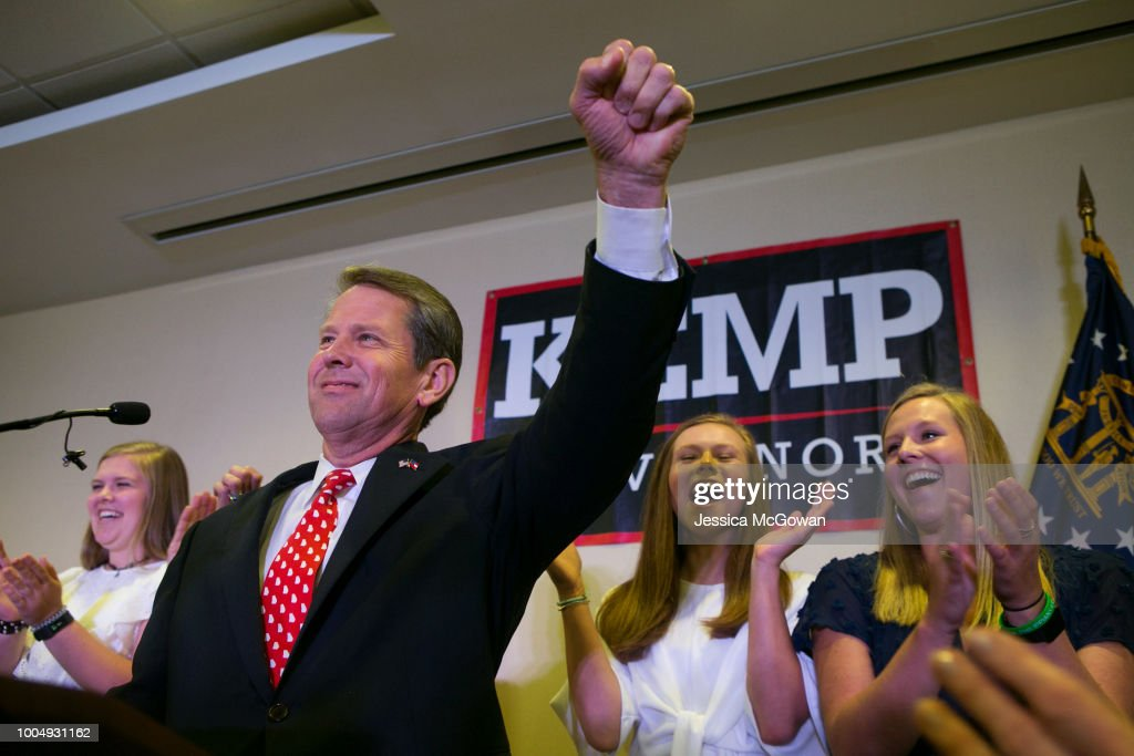 Georgia Secretary of State And Gubernatorial Candidate Brian Kemp Holds Primary Night Event In Athens, Georgia : News Photo