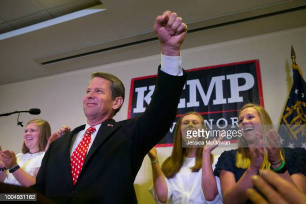 Secretary of State and Republican Gubernatorial candidate Brian Kemp addresses the audience and declares victory during an election watch party on...